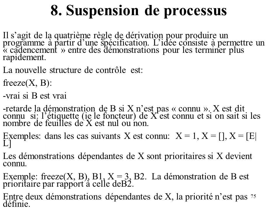 75 8. Suspension de processus Il sagit de la quatrième règle de dérivation pour produire un programme à partir dune spécification. Lidée consiste à pe