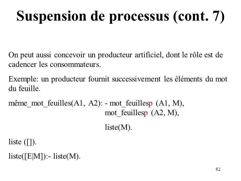 82 Suspension de processus (cont. 7) On peut aussi concevoir un producteur artificiel, dont le rôle est de cadencer les consommateurs. Exemple: un pro