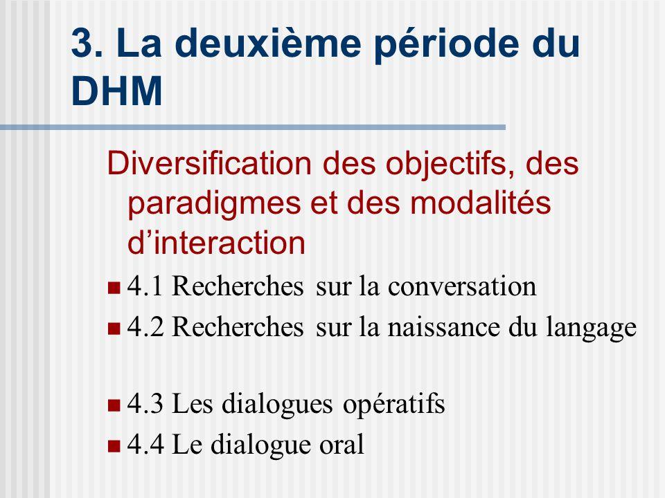 3. La deuxième période du DHM Diversification des objectifs, des paradigmes et des modalités dinteraction 4.1 Recherches sur la conversation 4.2 Reche