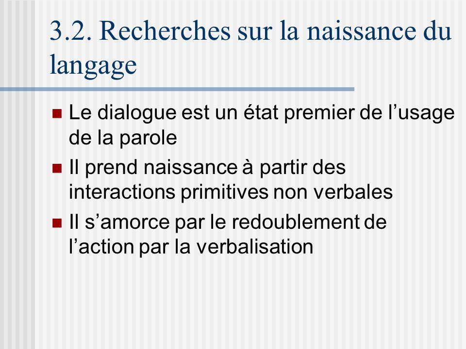 3.2. Recherches sur la naissance du langage Le dialogue est un état premier de lusage de la parole Il prend naissance à partir des interactions primit
