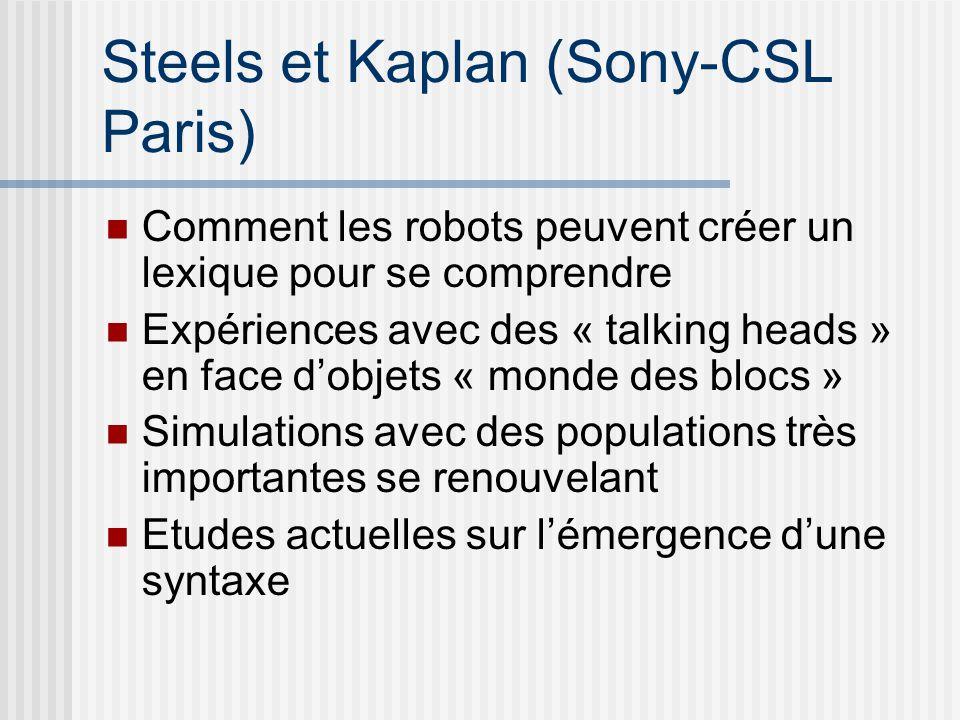 Steels et Kaplan (Sony-CSL Paris) Comment les robots peuvent créer un lexique pour se comprendre Expériences avec des « talking heads » en face dobjets « monde des blocs » Simulations avec des populations très importantes se renouvelant Etudes actuelles sur lémergence dune syntaxe