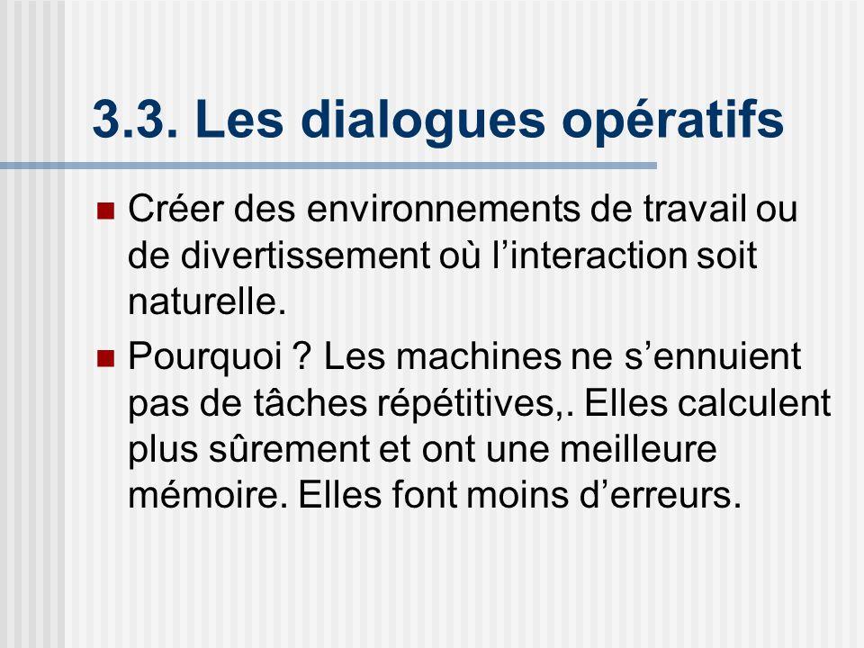 3.3. Les dialogues opératifs Créer des environnements de travail ou de divertissement où linteraction soit naturelle. Pourquoi ? Les machines ne sennu