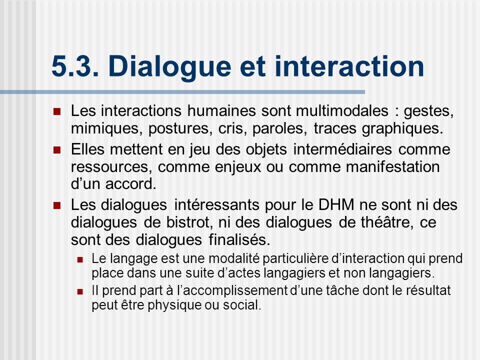 5.3. Dialogue et interaction Les interactions humaines sont multimodales : gestes, mimiques, postures, cris, paroles, traces graphiques. Elles mettent