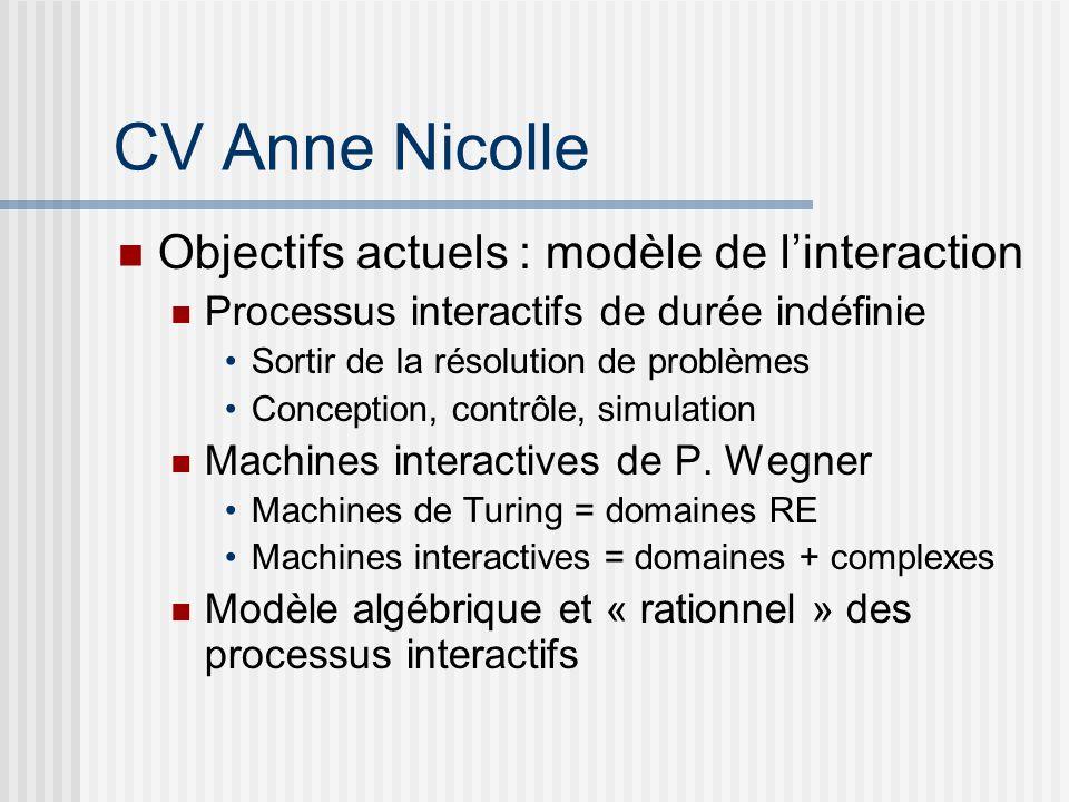 CV Anne Nicolle Objectifs actuels : modèle de linteraction Processus interactifs de durée indéfinie Sortir de la résolution de problèmes Conception, contrôle, simulation Machines interactives de P.