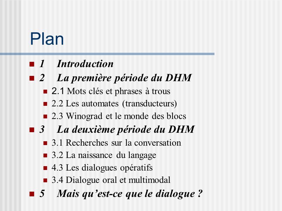 Plan 1Introduction 2La première période du DHM 2.1 Mots clés et phrases à trous 2.2 Les automates (transducteurs) 2.3 Winograd et le monde des blocs 3La deuxième période du DHM 3.1 Recherches sur la conversation 3.2 La naissance du langage 4.3 Les dialogues opératifs 3.4 Dialogue oral et multimodal 5Mais quest-ce que le dialogue ?