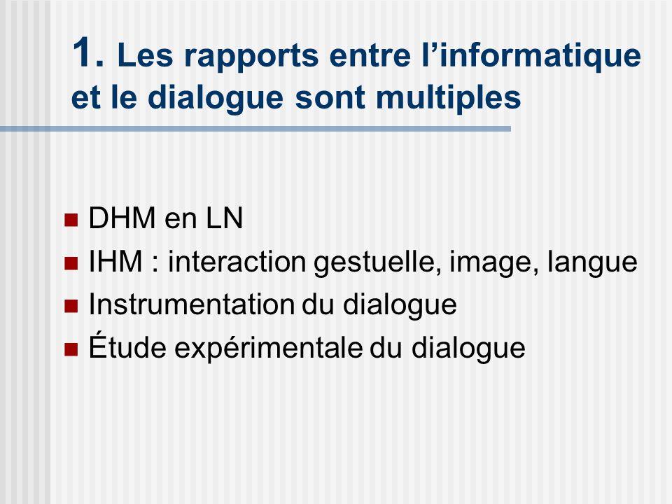 1. Les rapports entre linformatique et le dialogue sont multiples DHM en LN IHM : interaction gestuelle, image, langue Instrumentation du dialogue Étu