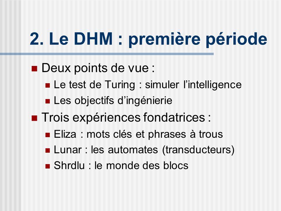 2. Le DHM : première période Deux points de vue : Le test de Turing : simuler lintelligence Les objectifs dingénierie Trois expériences fondatrices :