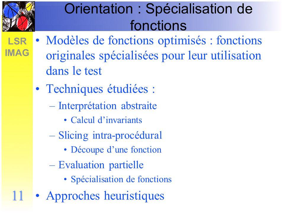 LSR IMAG 12 Construction des modèles 2 critères : Un modèle doit –être plus simple que les fonctions originales –Disposer dun modèle exact de chacune des fonctions 2ème critère nous a amené à une architecture où les approximations se superposent M1M2M complet Ordre dessai des modèles