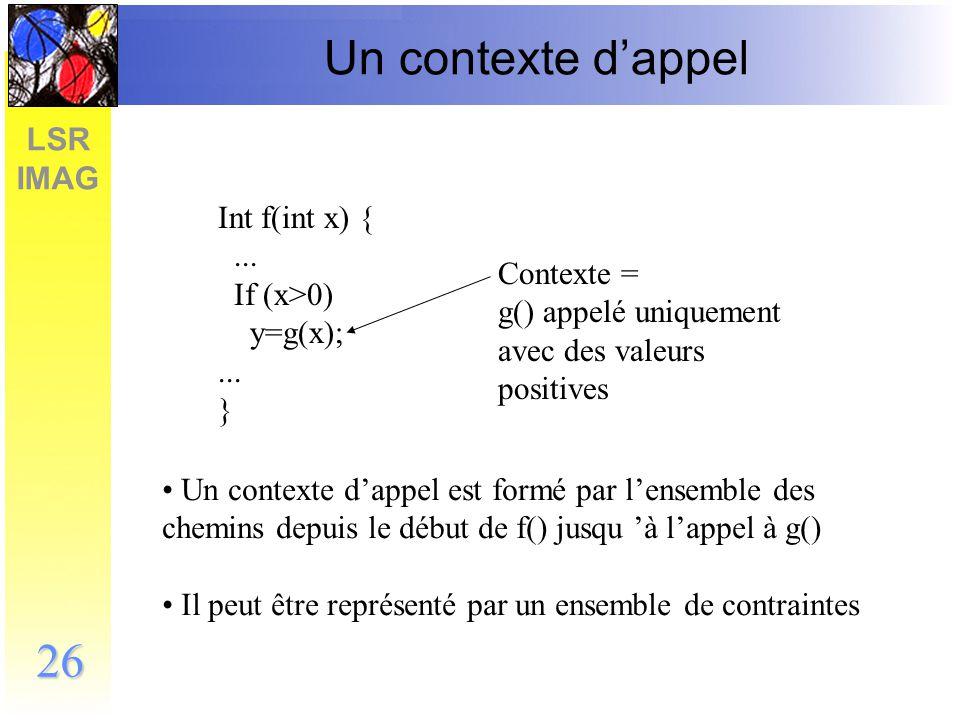 LSR IMAG 27 Un objectif de génération Int f(int x) {...