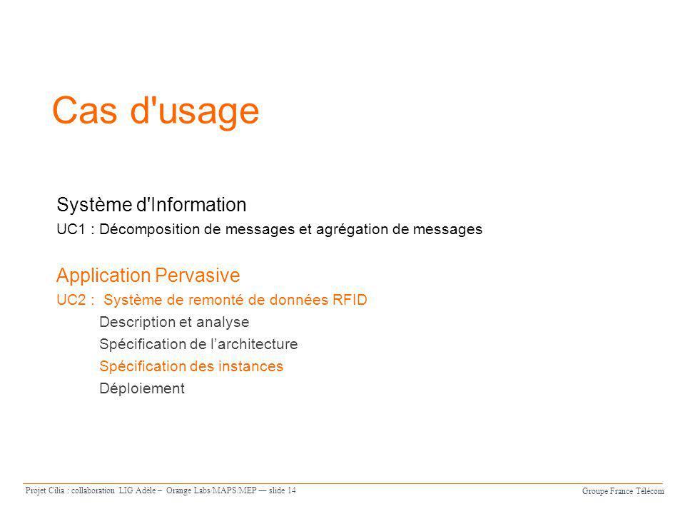 Groupe France Télécom Projet Cilia : collaboration LIG Adèle – Orange Labs/MAPS/MEP slide 14 Cas d'usage Système d'Information UC1 : Décomposition de