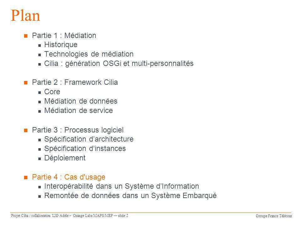 Groupe France Télécom Projet Cilia : collaboration LIG Adèle – Orange Labs/MAPS/MEP slide 2 Plan Partie 1 : Médiation Historique Technologies de média