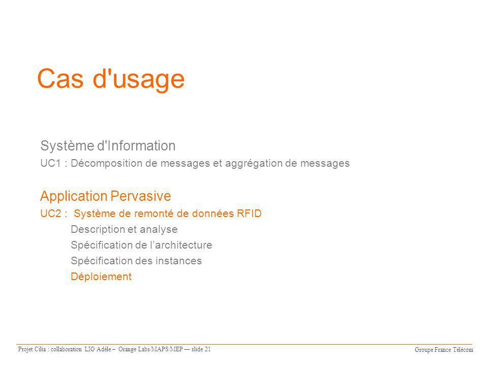 Groupe France Télécom Projet Cilia : collaboration LIG Adèle – Orange Labs/MAPS/MEP slide 21 Cas d'usage Système d'Information UC1 : Décomposition de