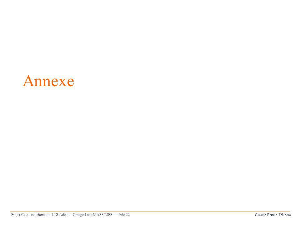 Groupe France Télécom Projet Cilia : collaboration LIG Adèle – Orange Labs/MAPS/MEP slide 22 Annexe