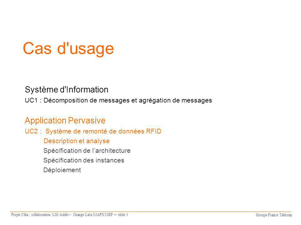 Groupe France Télécom Projet Cilia : collaboration LIG Adèle – Orange Labs/MAPS/MEP slide 3 Cas d'usage Système d'Information UC1 : Décomposition de m