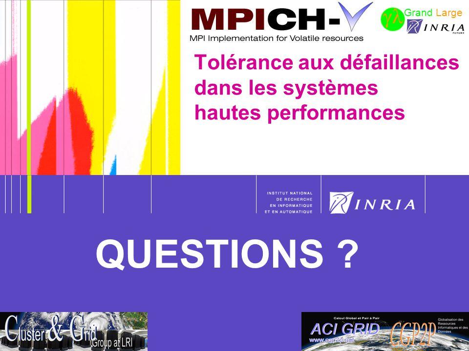 64 Tolérance aux défaillances dans les systèmes hautes performances Grand Large QUESTIONS ?