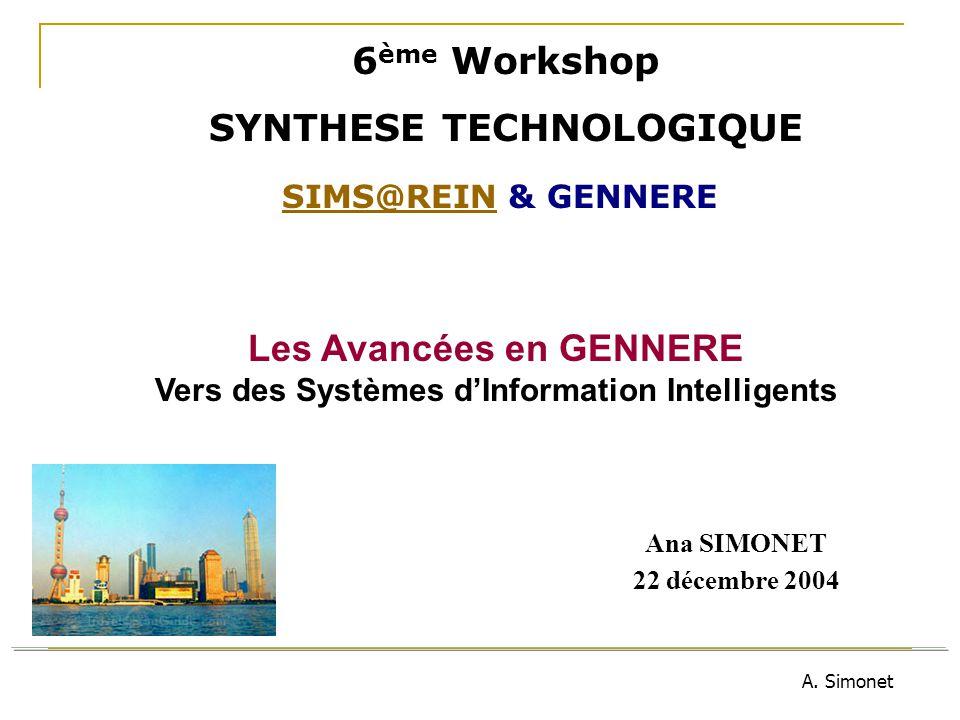 A. Simonet Ana SIMONET 22 décembre 2004 6 ème Workshop SYNTHESE TECHNOLOGIQUE SIMS@REINSIMS@REIN & GENNERE Les Avancées en GENNERE Vers des Systèmes d