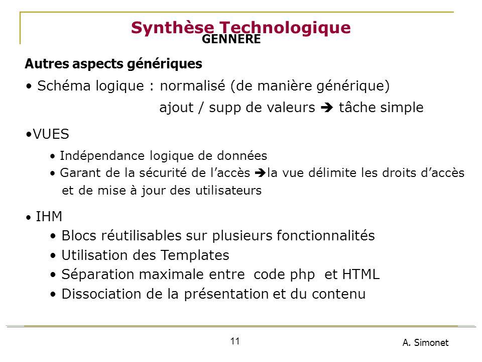 A. Simonet 11 Synthèse Technologique Schéma logique : normalisé (de manière générique) ajout / supp de valeurs tâche simple VUES Indépendance logique