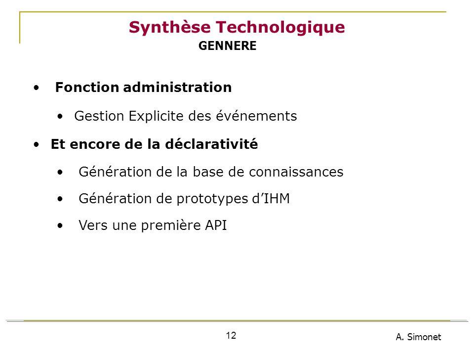 A. Simonet 12 Synthèse Technologique Fonction administration Gestion Explicite des événements Et encore de la déclarativité Génération de la base de c