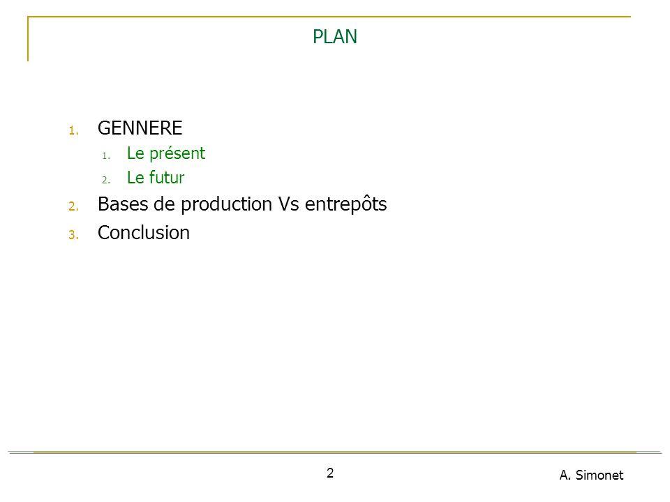 A. Simonet 2 PLAN 1. GENNERE 1. Le présent 2. Le futur 2. Bases de production Vs entrepôts 3. Conclusion