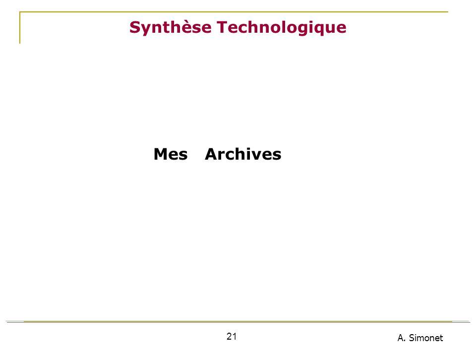 A. Simonet 21 Synthèse Technologique Mes Archives