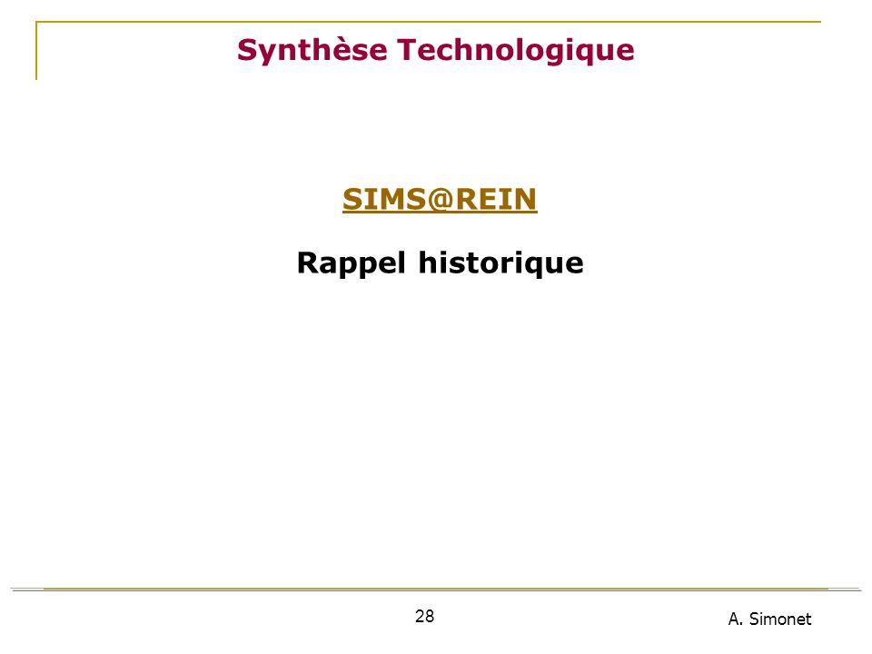 A. Simonet 28 Synthèse Technologique SIMS@REIN Rappel historique