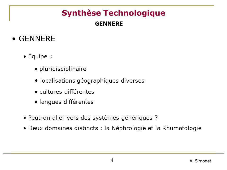 A. Simonet 4 Synthèse Technologique GENNERE Équipe : pluridisciplinaire localisations géographiques diverses cultures différentes langues différentes