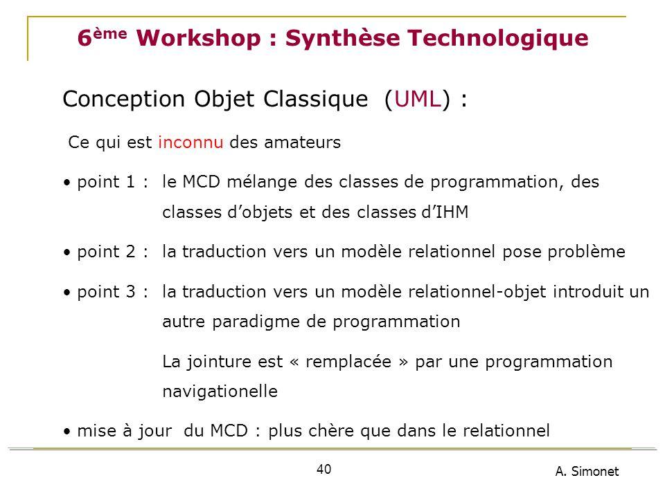 A. Simonet 40 6 ème Workshop : Synthèse Technologique Conception Objet Classique (UML) : Ce qui est inconnu des amateurs point 1 : le MCD mélange des