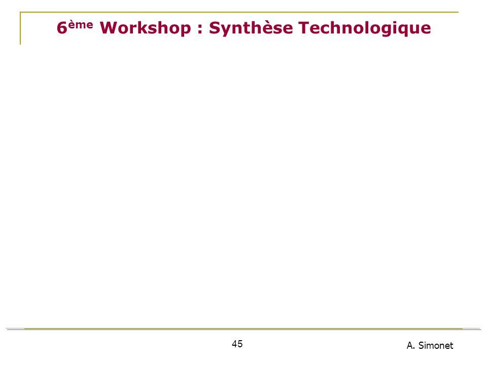 A. Simonet 45 6 ème Workshop : Synthèse Technologique