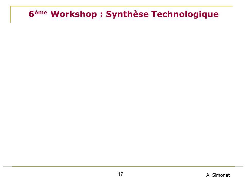 A. Simonet 47 6 ème Workshop : Synthèse Technologique