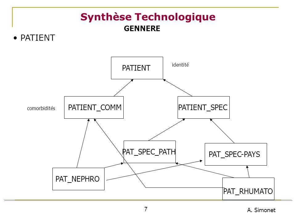 A. Simonet 7 Synthèse Technologique PATIENT PATIENT_COMM PATIENT PATIENT_SPEC identité comorbidités PAT_SPEC_PATH PAT_SPEC-PAYS PAT_NEPHRO PAT_RHUMATO