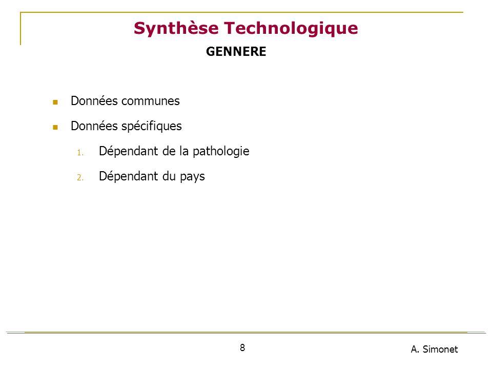 A. Simonet 8 Synthèse Technologique Données communes Données spécifiques 1. Dépendant de la pathologie 2. Dépendant du pays GENNERE
