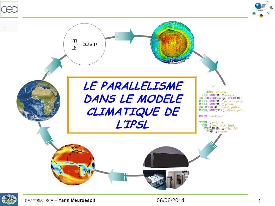 CEA/DSM/LSCE – Yann Meurdesoif 06/06/2014 2 Le parallélisme dans le modèle couplé… Contexte Codes déjà existant initialement développés en séquentiel, ciblés pour machine vectorielle.