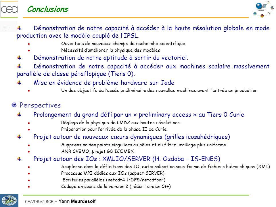 CEA/DSM/LSCE – Yann Meurdesoif Conclusions Démonstration de notre capacité à accéder à la haute résolution globale en mode production avec le modèle couplé de lIPSL.