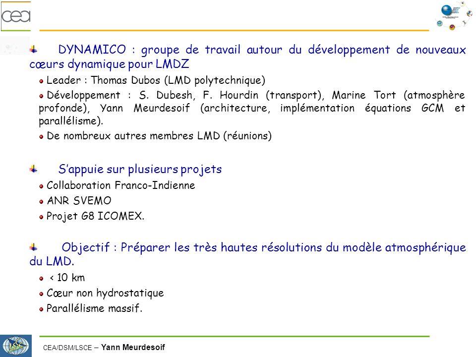CEA/DSM/LSCE – Yann Meurdesoif DYNAMICO : groupe de travail autour du développement de nouveaux cœurs dynamique pour LMDZ Leader : Thomas Dubos (LMD polytechnique) Développement : S.