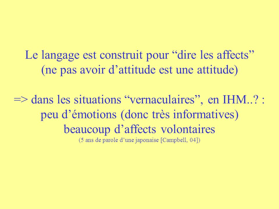 Ecole TCAN, 2006 direct expressions attitudinal functions « building speech » the speaker intentions voluntary control linguistic time involuntary con