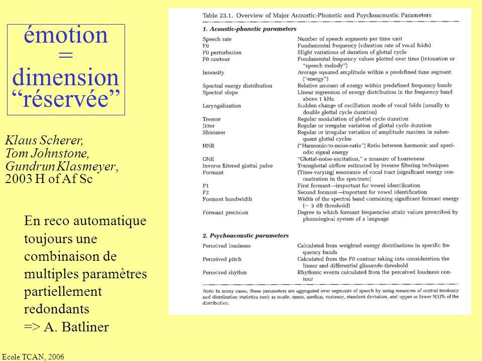 Ecole TCAN, 2006 Klaus Scherer, Tom Johnstone, Gundrun Klasmeyer, 2003 H of Af Sc prosodie = gradience