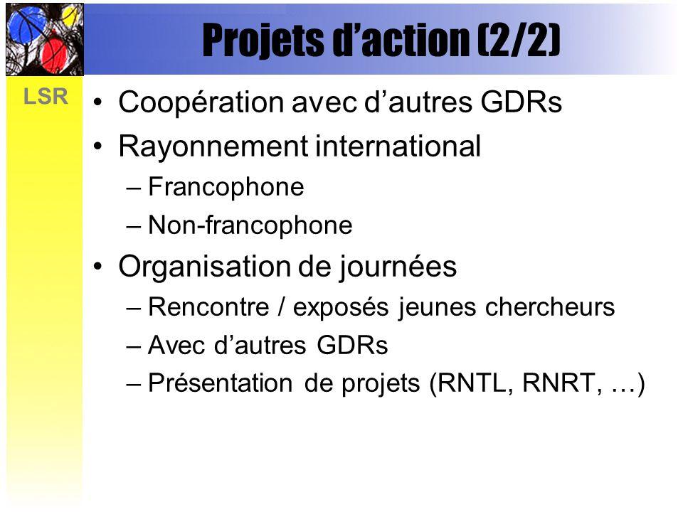 LSR Projets daction (2/2) Coopération avec dautres GDRs Rayonnement international –Francophone –Non-francophone Organisation de journées –Rencontre / exposés jeunes chercheurs –Avec dautres GDRs –Présentation de projets (RNTL, RNRT, …)