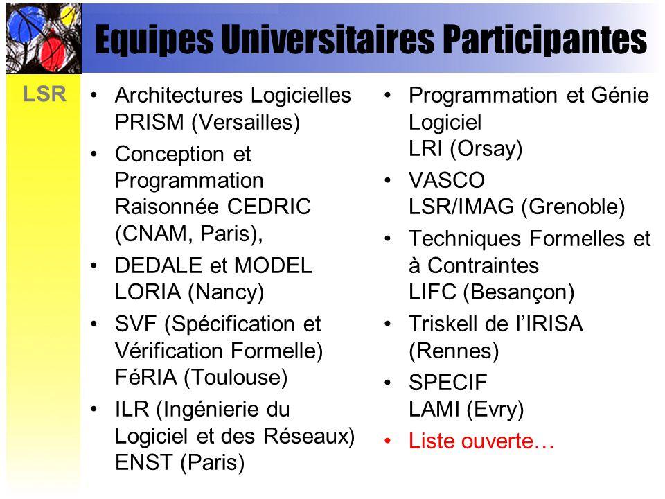 LSR Equipes Universitaires Participantes Architectures Logicielles PRISM (Versailles) Conception et Programmation Raisonnée CEDRIC (CNAM, Paris), DEDALE et MODEL LORIA (Nancy) SVF (Spécification et Vérification Formelle) FéRIA (Toulouse) ILR (Ingénierie du Logiciel et des Réseaux) ENST (Paris) Programmation et Génie Logiciel LRI (Orsay) VASCO LSR/IMAG (Grenoble) Techniques Formelles et à Contraintes LIFC (Besançon) Triskell de lIRISA (Rennes) SPECIF LAMI (Evry) Liste ouverte…