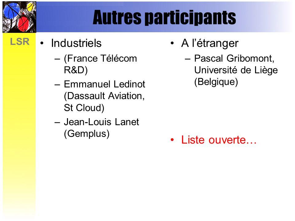 LSR Autres participants Industriels –(France Télécom R&D) –Emmanuel Ledinot (Dassault Aviation, St Cloud) –Jean-Louis Lanet (Gemplus) A létranger –Pascal Gribomont, Université de Liège (Belgique) Liste ouverte…