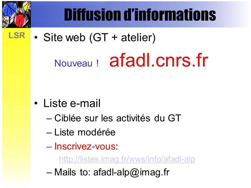 LSR Diffusion dinformations Site web (GT + atelier) Nouveau ! afadl.cnrs.fr Liste e-mail –Ciblée sur les activités du GT –Liste modérée –Inscrivez-vou