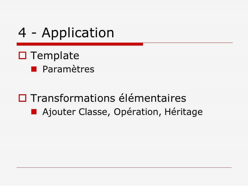 4 - Application Template Paramètres Transformations élémentaires Ajouter Classe, Opération, Héritage