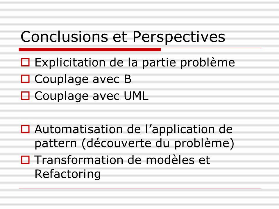 Conclusions et Perspectives Explicitation de la partie problème Couplage avec B Couplage avec UML Automatisation de lapplication de pattern (découverte du problème) Transformation de modèles et Refactoring