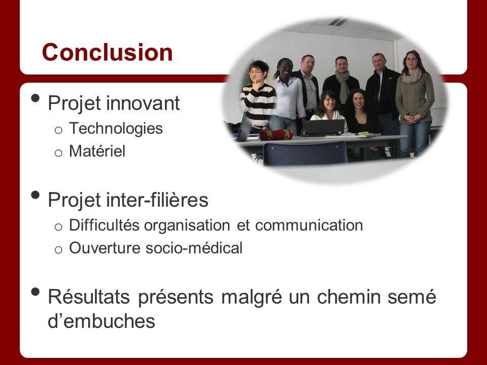 Conclusion Projet innovant o Technologies o Matériel Projet inter-filières o Difficultés organisation et communication o Ouverture socio-médical Résul