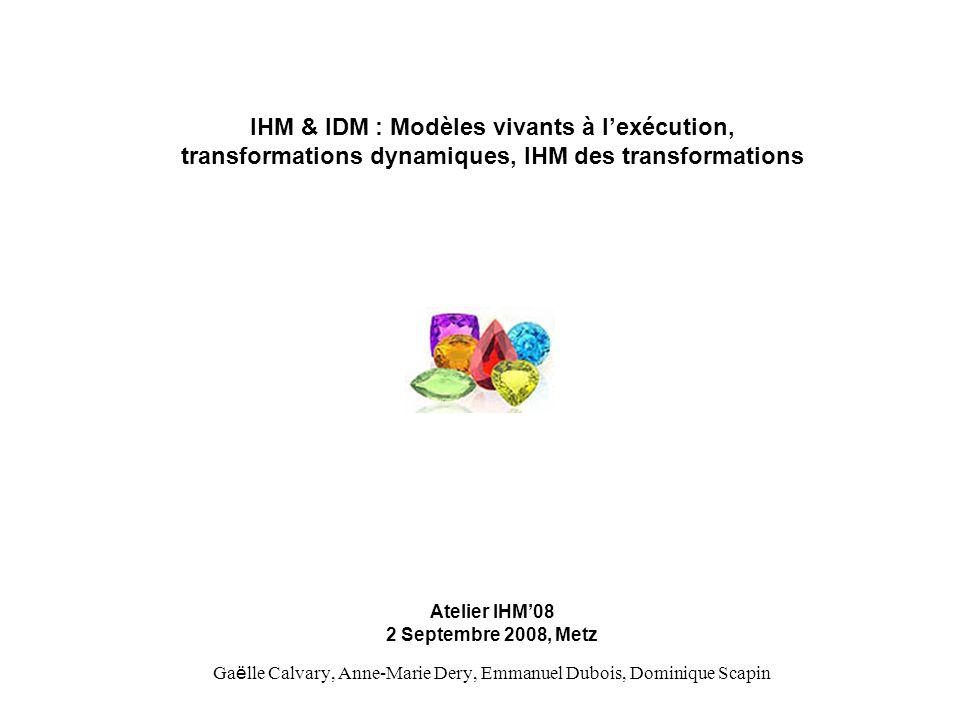 IHM & IDM : Modèles vivants à lexécution, transformations dynamiques, IHM des transformations Atelier IHM08 2 Septembre 2008, Metz Ga ë lle Calvary, A