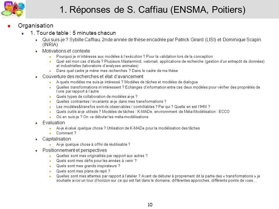 10 1. Réponses de S. Caffiau (ENSMA, Poitiers) Organisation 1. Tour de table : 5 minutes chacun Qui suis-je ? Sybille Caffiau, 2nde année de thèse enc