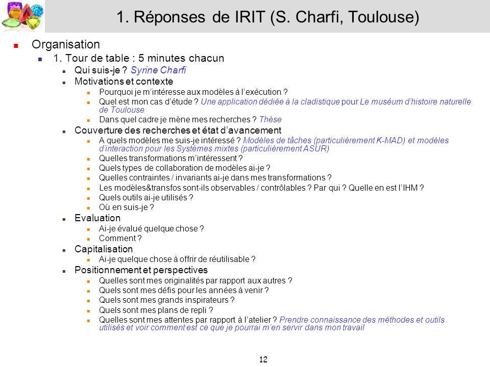 12 1. Réponses de IRIT (S. Charfi, Toulouse) Organisation 1. Tour de table : 5 minutes chacun Qui suis-je ? Syrine Charfi Motivations et contexte Pour