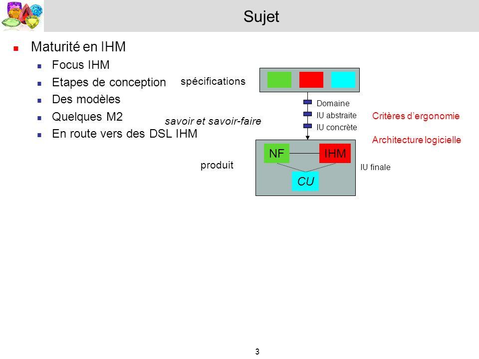 3 Sujet Maturité en IHM Focus IHM Etapes de conception Des modèles Quelques M2 En route vers des DSL IHM spécifications NFIHM CU produit savoir et sav