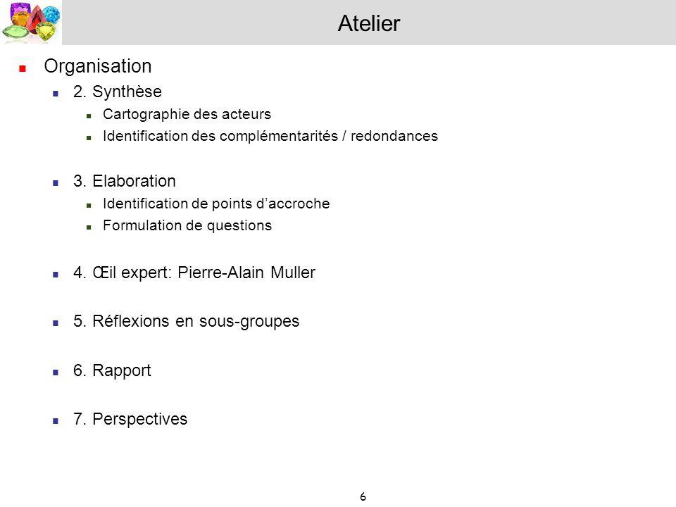 6 Atelier Organisation 2. Synthèse Cartographie des acteurs Identification des complémentarités / redondances 3. Elaboration Identification de points