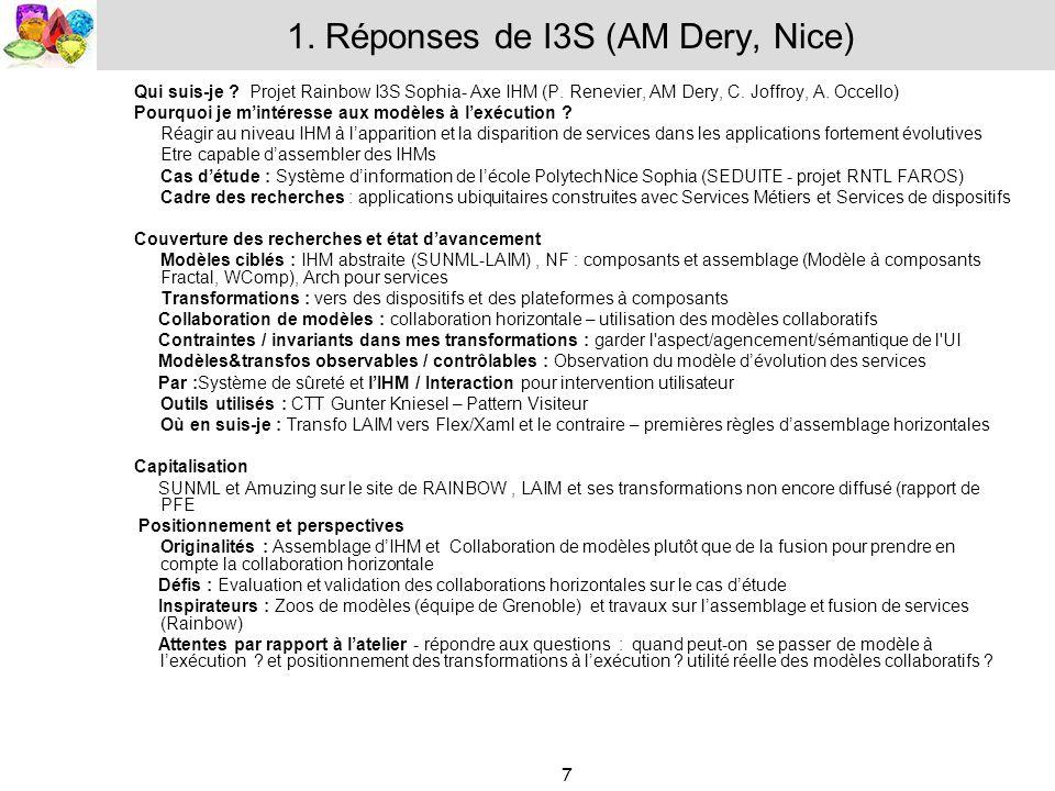 7 1. Réponses de I3S (AM Dery, Nice) Qui suis-je ? Projet Rainbow I3S Sophia- Axe IHM (P. Renevier, AM Dery, C. Joffroy, A. Occello) Pourquoi je minté