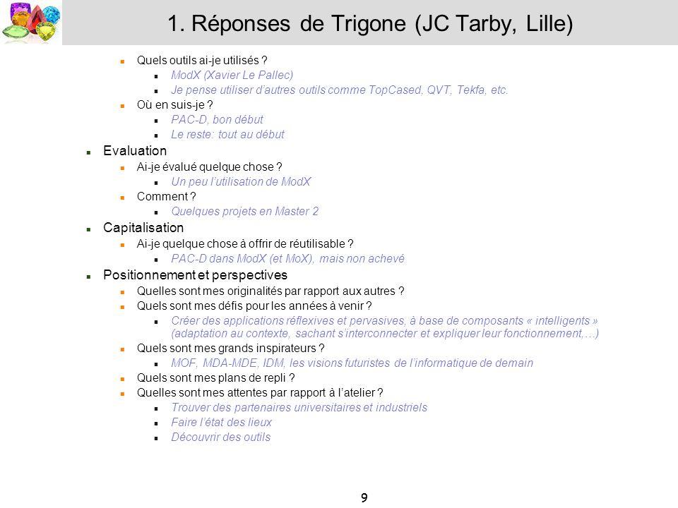 9 1. Réponses de Trigone (JC Tarby, Lille) Quels outils ai-je utilisés ? ModX (Xavier Le Pallec) Je pense utiliser dautres outils comme TopCased, QVT,